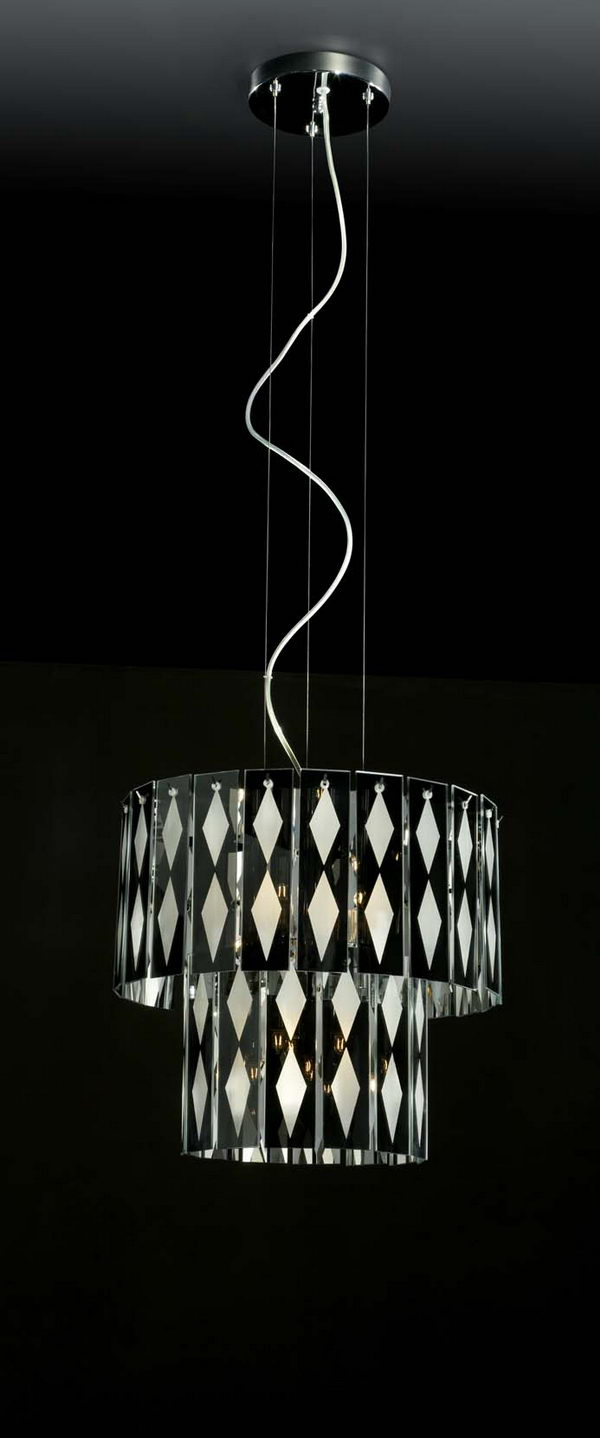 2-Tier Cylinder Black and White Glass Pendant Lamp 3D Model