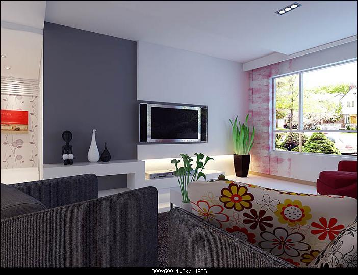 3d living room minimalist style garden