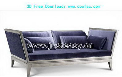 3D model of a blue sofa over portfolio (including materials)