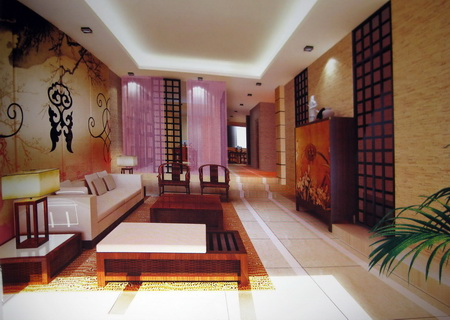 3D Model of Chinese abstract style living room (including materials)