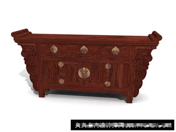 3D Model of Chinese solid wood cabinets retro
