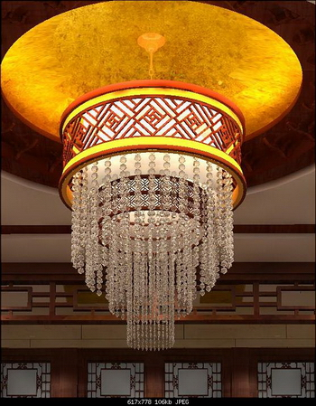 3D Model of Chinese-style crystal chandelier