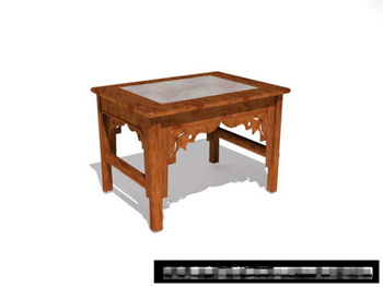 3D Model of Chinese wood bench