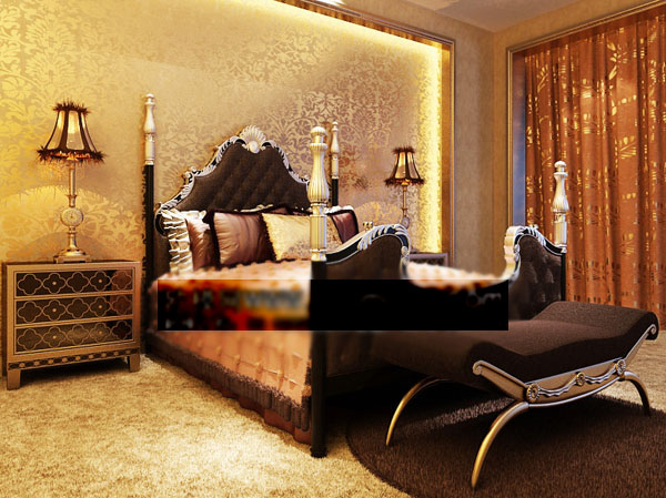 3D Model of European gold nobles bed (including materials)