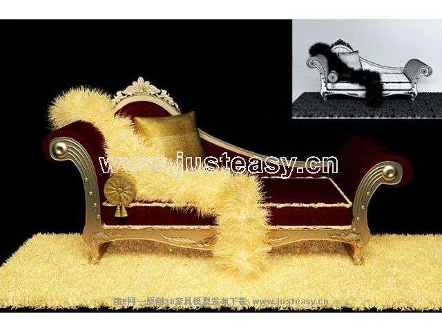 3D Model of luxury chaise longue (including materials)