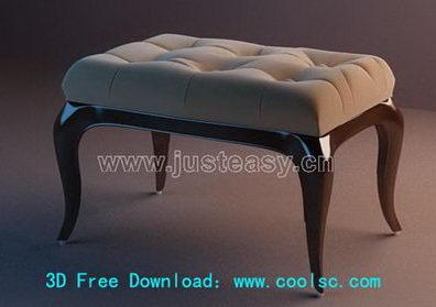 3D Model of sofa stool (including materials)