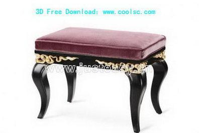 3D Model of sofa wooden bench