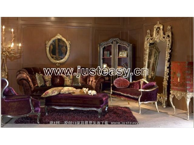 3D model of the classical combination of luxurious furniture (including materials)