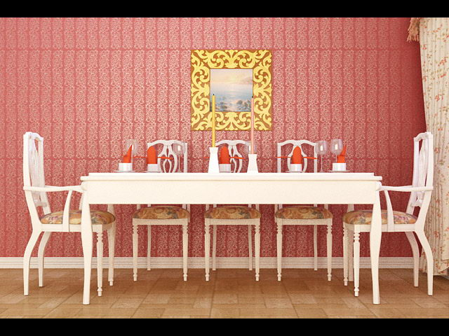 3D model of the Islamic style tables and chairs (including materials)
