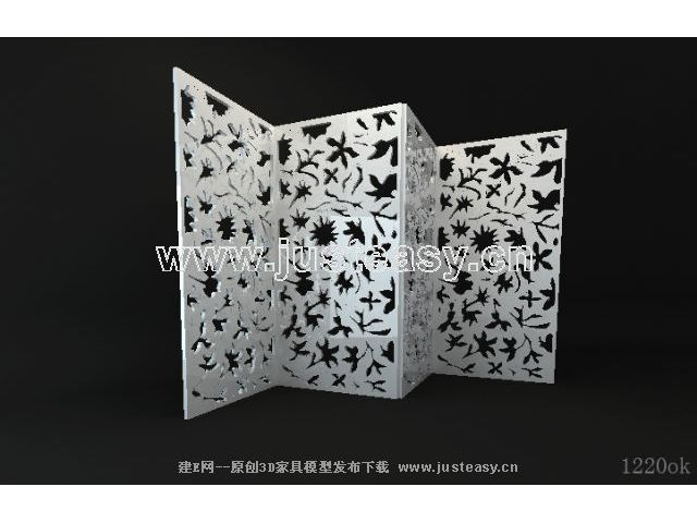 3D model of the modern white wooden screen (including materials)