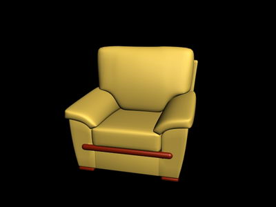 3D model of the old yellow sofa