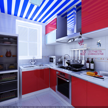 3D model of the red style kitchen