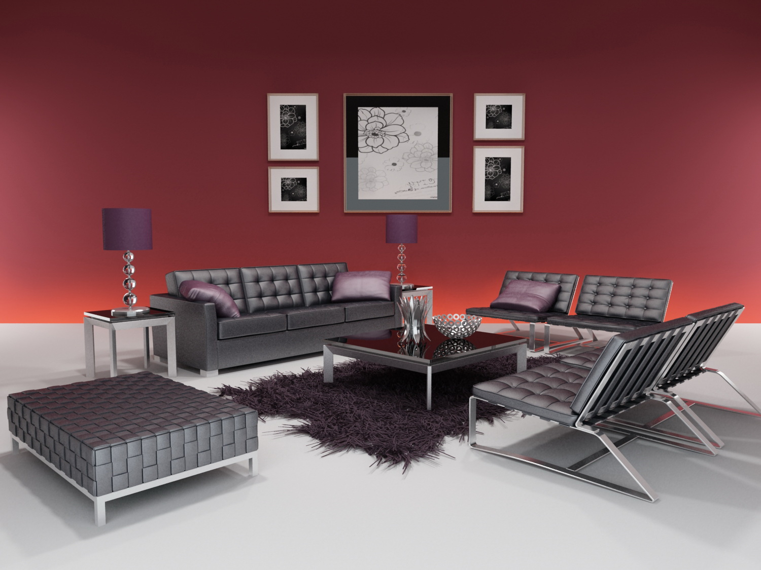 3D model of the whole furniture of modern style (including materials)