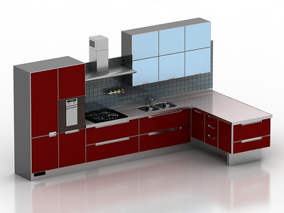 3D model of the whole kitchen red