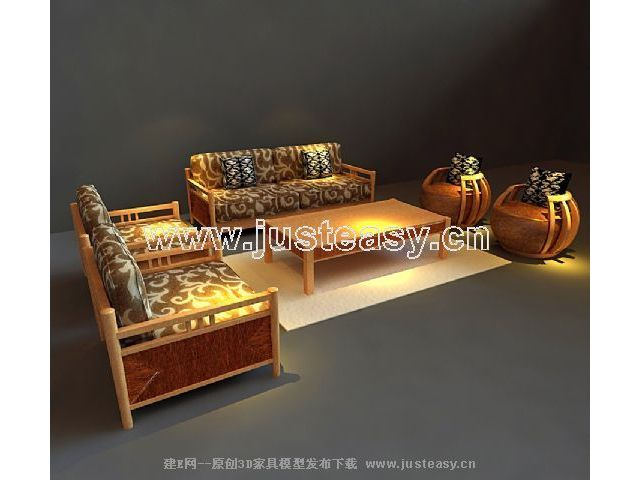 3D models of solid wood furniture in Southeast Asia (including materials)