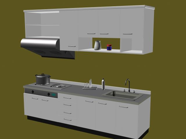6 sets  Overall cupboard 3D Model