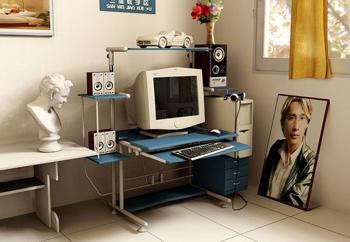 A corner of Study – Computer Desk 3D Model