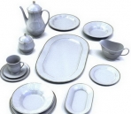 A set of white porcelain dinnerware 3D Model