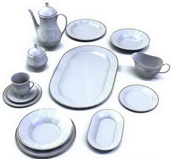 A set of white porcelain dinnerware 3D Model