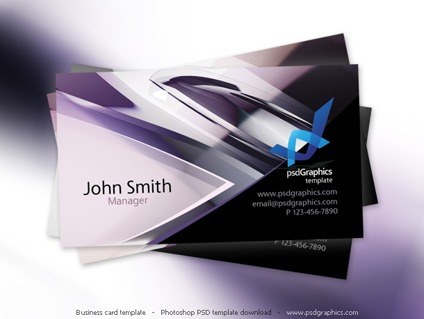 Abstract hi-tech design, business card template PSD
