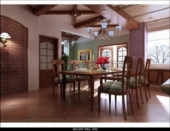 American country style interior 3D model (including materials, light area network, and CAD working drawings)