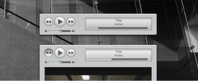 Apple iTunes Similar Media Controls and Interface PSD