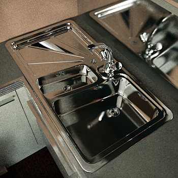 Bathroom Metal Sink kit 3D Model