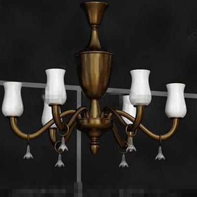 Beautiful golden scaffold white chandelier 3D Model