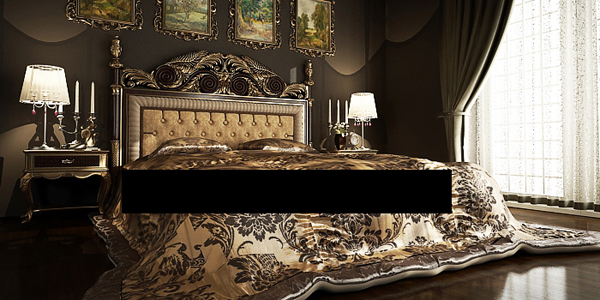 Beautiful luxury European bed 3D model (including materials)