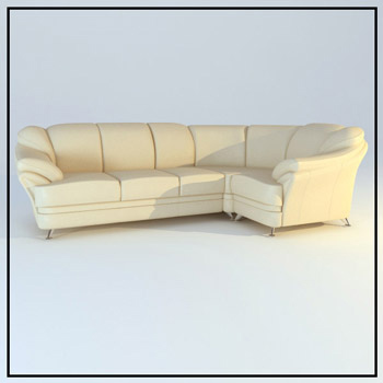 Beige leather corner sofa 3D Model