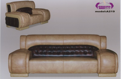 Beige leather sofa 3D model over the boss