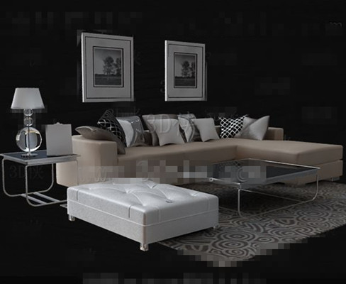 Beige leather Sofa Tea table combination 3D Model