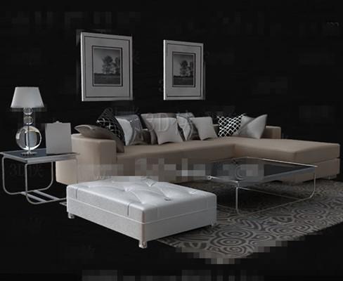 Beige leather Sofa Tea table combination 3D Model