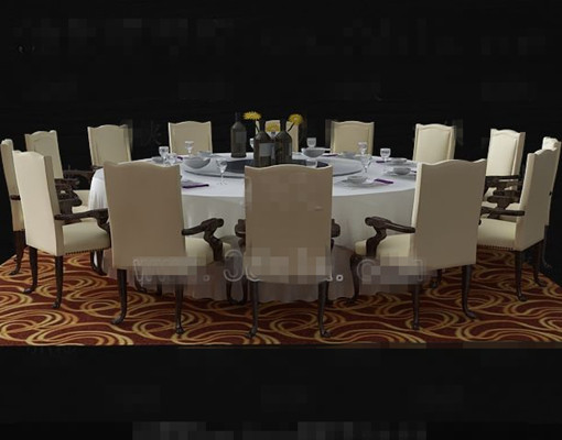 Beige round table and chairs combination 3D Model