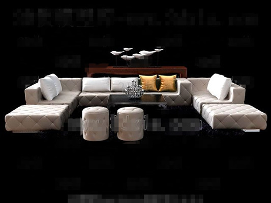Beige simple and comfortable sofa combination 3D Model