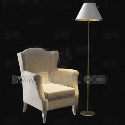 Beige single fabric sofa 3D Model