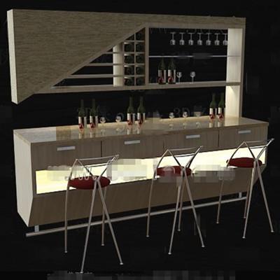 Beige stylish wine cabinet 3D Model