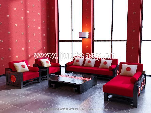 Big red sofa combination of modern Chinese 3D Model