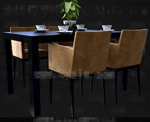 Black and brown-yellow four persons table 3D Model