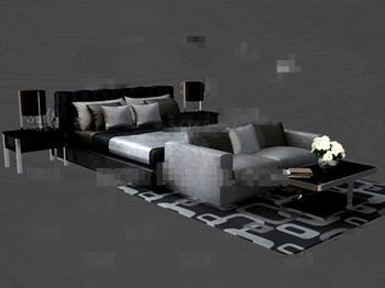 Black and gray fashion double bed 3D Model