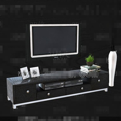 Black and gray with drawers TV cabinet 3D Model