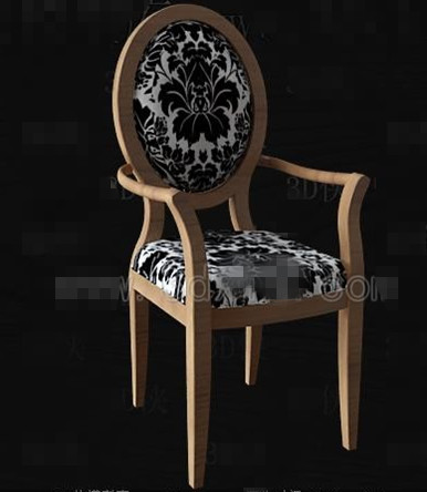 Black and white fabric wooden chair 3D Model