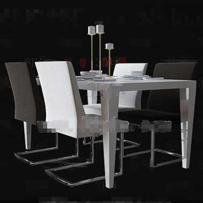Black and white minimalist dining table 3D Model