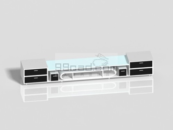 Black and white mosaic fashion TV cabinet 3D model