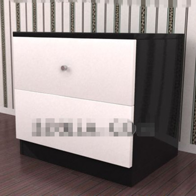 Black and white simple bedside cabinet 3D Model