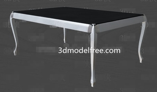Black and white simple style tea table 3D Model