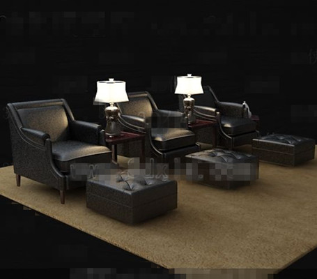 Black casual leather sofa combination 3D Model