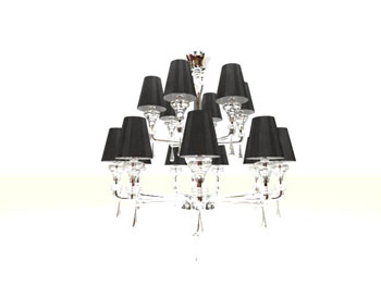Black double-layer dendritic chandelier 3D Model
