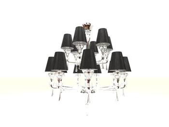 Black double-layer dendritic chandelier 3D Model
