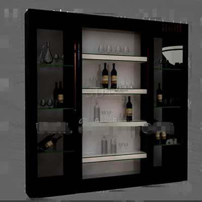 Black glass doors wine cabinet 3D Model